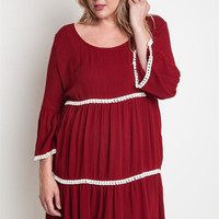 Ginny Tiered Tunic Dress XL-2XL: Maroon