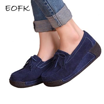 EOFK Women Flat Platform Loafers Ladies Elegant Suede Moccasins Fringe Shoes Woman Slip On Tassel Moccasin Women's Casual Shoes