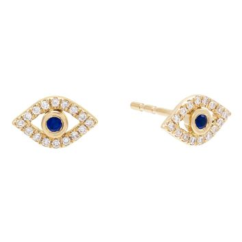 Diamond Evil Eye Stud Earring 14K