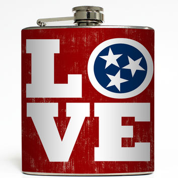 Love TN - Tennessee Tri Star Flask