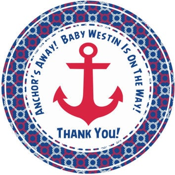 """Nautical Baby Shower Stickers Or Favor Tags - 2.5"""" Round"""