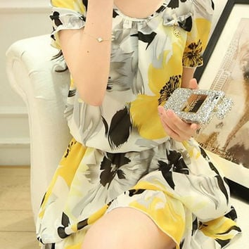 Yellow Floral Print Short Sleeve Chiffon Dress