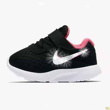 Girls' Nike Tanjun + Crystals - Infant/Toddler (2c-10c) - Black/Pink