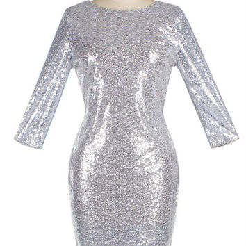 WealFeel Jewel neck Backless Sequins Bodycon Dress
