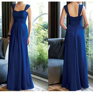 JC&STAR vestido de festa de casamento Cheap 2017 Navy Blue Turquoise Bridesmaid Dresses Long Prom Dresses  plus size Under 50