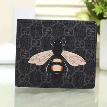 PEAPUP0 GUCCI Woman Men Fashion Bee Clutch Bag Leather Purse Wallet1