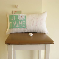Made to Order Je t' aime Pillow Wedding Decoration by cherrytime