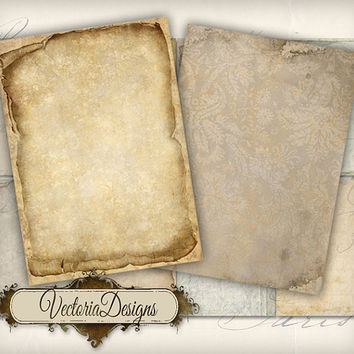 INSTANT DOWNLOAD Tattered Papers 2 ATC vintage images digital background instant download printable collage sheet 157