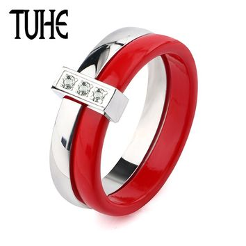 Fashion Engagement Woman Ring Cubic Zirconia Ring Red White Ceramic Ring Female Double Rings Set Ladies Lover Wedding Jewelry