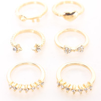 Gold Rhinestone Accent High Polish Mid Rings