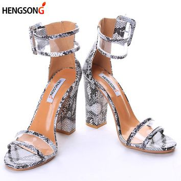 HENGSONG Newest Women Pumps Shoes Sexy Clear Transparent Strappy Buckle Sandals High Heels Shoes Party Shoes Women TR912509