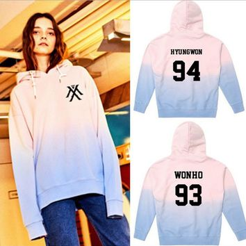 KPOP Monsta x Gradient Shownu WONHO Color Cap Hoodie Unisex Jackson Sweatershirt Bambam Coat JB