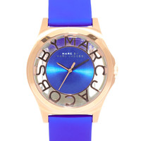Marc By Marc Jacobs Henry Skeleton Blue Leather Strap Watch