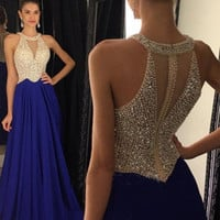 Free Shipping Navy Blue Halter Prom Dresses Sheer Corset Long Sexy Prom Dress With Crystal A-line Prom Evening Party Gown