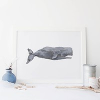 Watercolor Sperm Whale Wall Art Print or Canvas