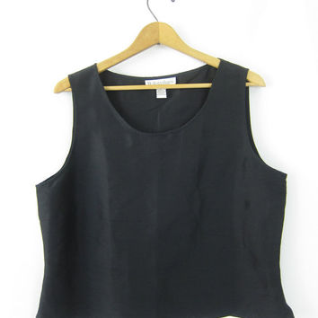 Black Silk Tank Top Sleeveless Blouse 90s Slouchy Tank Top Boxy Minimal Black Top 1990s Cropped Loose Fit Top Silk Vintage Womens Large