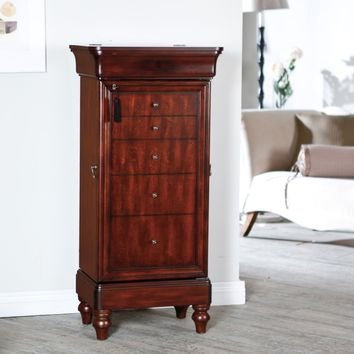 Belham Living Seville Antique Walnut Locking Jewelry Armoire | Hayneedle