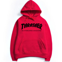 """""""Thrasher""""Fashion print blouse casual hooded sweater Red black print(4 color)"""