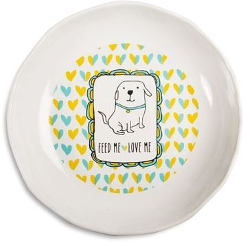 Feed me love me Doggie Shallow Feeding Bowl