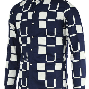 Turn-Down Collar Color Block Checked Pattern Long Sleeve Button-Down  Shirt