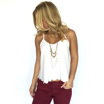 Scallop Tank Blouse In White