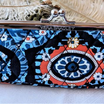 Vera Bradley Marrakesh Kisslock Case Cosmetic Glasses Organizer