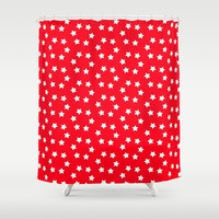 Red And White Stars Shower Curtain by kasseggs