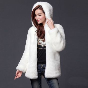Warm Winter Thick Fur Women Faux Fur Coat Medium-long Hooded Rabbit Fur Coats and Jackets Plus Size S-3XL-5XL White, Black