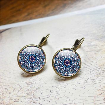 Fashion Women Jewelry Mandala Earrings OM Symbol Buddhism Vintage Henna Stud Earrings Online Shopping India Jewelry