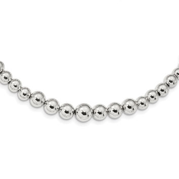 Sterling Silver Graduated Beads Adjustable Necklace QG4548