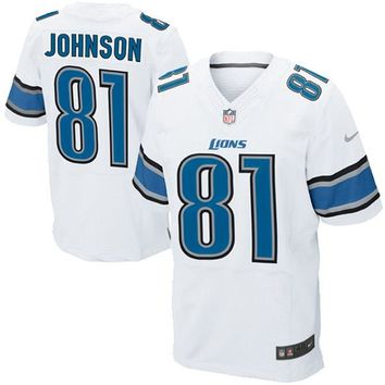Mens Detroit Lions Calvin Johnson Nike White Elite Jersey