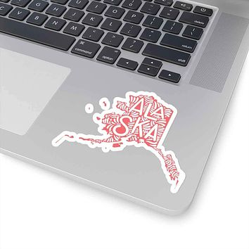 Alaska State Shape Sticker Decal - Coral