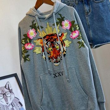Fashion Tiger head Floral Embroidered Hooded Top Pullover Sweater Sweatshirt Hoodie