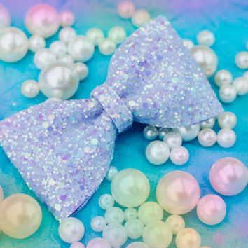 Pastel Lilac Mix Glitter Hair Bow Sparkly Cute Kawaii Glitter Bow