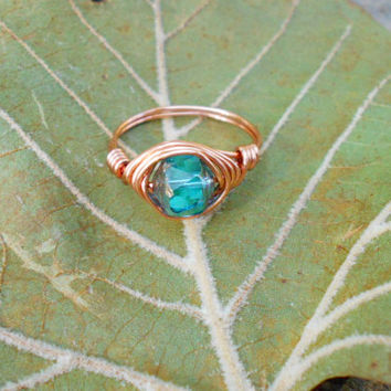 ring, Swarovski ring, wire ring, Swarovski crystal jewelry, wire wrapped ring, crystal ring, boho, bohemian, bohemian ring, custom ring