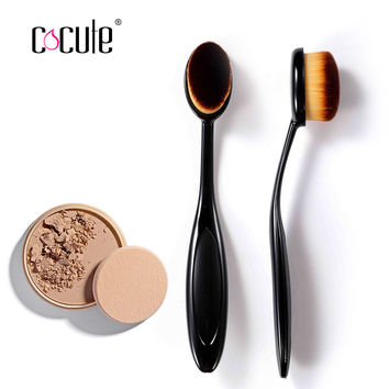 Natural Makeup 2016 New Oval Tooth Brush Style Makeup Brush Foundation Makeup Air Brush Loose powder Synthetic Hair Brush