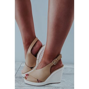 Walk Me Home Wedges: Nude