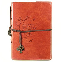 Valery Classic Leather Notebook Retro Vintage Diary & Journal Medium Size for Men/women Daily Use Gift -Blank & Lined Refillable Loose Leaf Pages- Mediterranean & Middle Ages Style Tree Design-brown