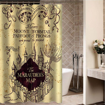 "the marauders map Custom Shower curtain,Sizes available size 36""w x 72""h 48""w x 72""h 60""w x 72""h 66""w x 72""h"