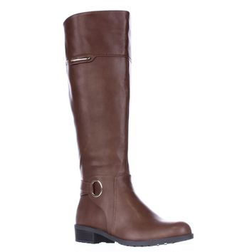 A35 Jadah Tall Wide Calf Riding Boots, Cognac, 8 US