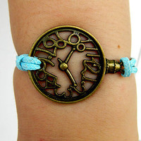 Ancient bronze clock bracelet --Unisex Simple fashion Ancient bronze clock blue wax rope braided leather bracelet