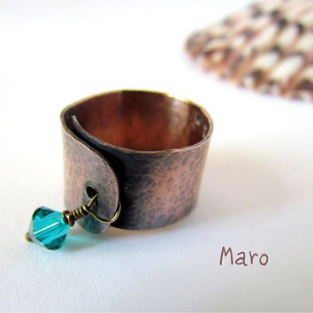 Adjustable Copper Wide Band Ring with Swarovski by SandstarJewelry