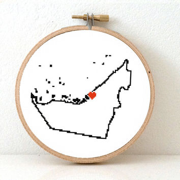 UNITED ARAB Emirates Map Cross Stitch Pattern. Easy Embroidery pattern to make United Arab Emirates poster with Abu Dhabi.
