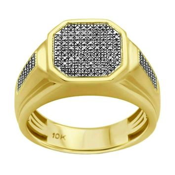 0.35ct Round Diamonds in 10K Yellow Gold Men's Signet Ring
