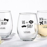 Personalized 9 oz. Stemless Wine Glass - Gender Reveal Collection