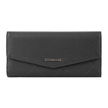 Damara Womens Chic Envelope Pure Color Sewing Trifold Wallet