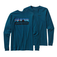 Patagonia Men's Long Sleeve P-6 Logo T-Shirt- Crater Blue