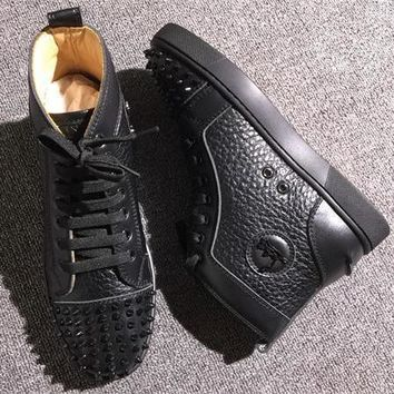 Cl Christian Louboutin Lou Spikes Style #2217 Sneakers Fashion Shoes