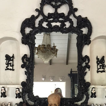 Matia Biaggi Black Tar Mirror Black Metal Home Decor Metal Home & Living Gothic Black Rococco Style Goth