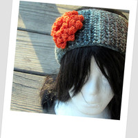 Country Girl Headband, Camouflage Ear Warmer, Hunter Head Wrap, Crochet Flower Headwarmer, Huntress, Camo, Winter Accessories, Orange Flower